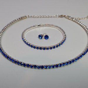 3 pcs Blue Swarovski Elements Jewelry Set
